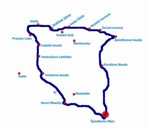 mapa - pěší hřebenovka
