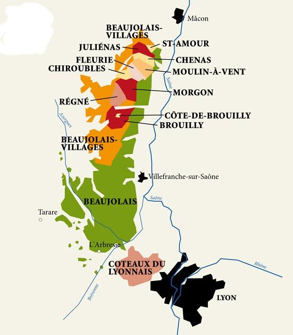 Mapa vinařské oblasti Beaujolais